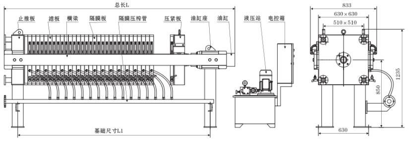 厢式压滤机线条图